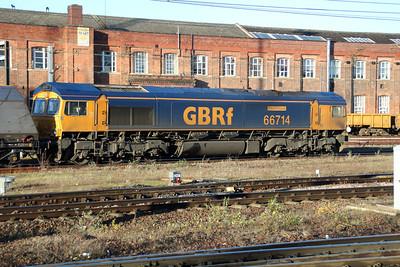 66714 0946/6c03 Doncaster-Eggborough passes Doncaster Station.
