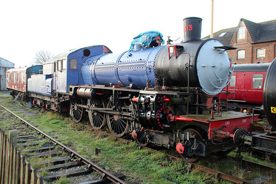 Steam 4-6-0 No1313 at Lincs Wolds Railway.