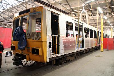 Tyne & Wear Metro 4029 under refurbishment inside Wabtec.