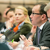Espen Barth-Eide, Minister of Foreign Affairs, Norway chairing the EEA Council. To his right, Aurelia Frick, Minister of Foreign Affairs, Liechtenstein.