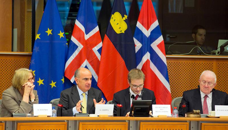From left: Oda Sletnes, President of ESA, Gianluca Grippa, EU President of the EEA Joint Committee, Tarvo Kungla, EEA JPC Secretary, Pat the Cope Gallagher, MEP and President of the EEA JPC