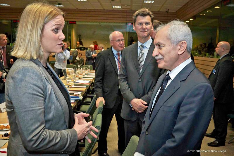 Katrín Júlíusdóttir, Minister of Finance and Economic Affairs of Iceland, and Vassos Shiarly, Minister of Finance, Cyprus, representing the Cyprus Presidency of the EU Council. (Photo: Council of the European Union)