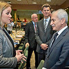 Katrín Júlíusdóttir, Minister of Finance and Economic Affairs of Iceland, and Vassos Shiarly, Minister of Finance, Cyprus, representing the Cyprus Presidency of the EU Council. (Photo: Council of the European Union)