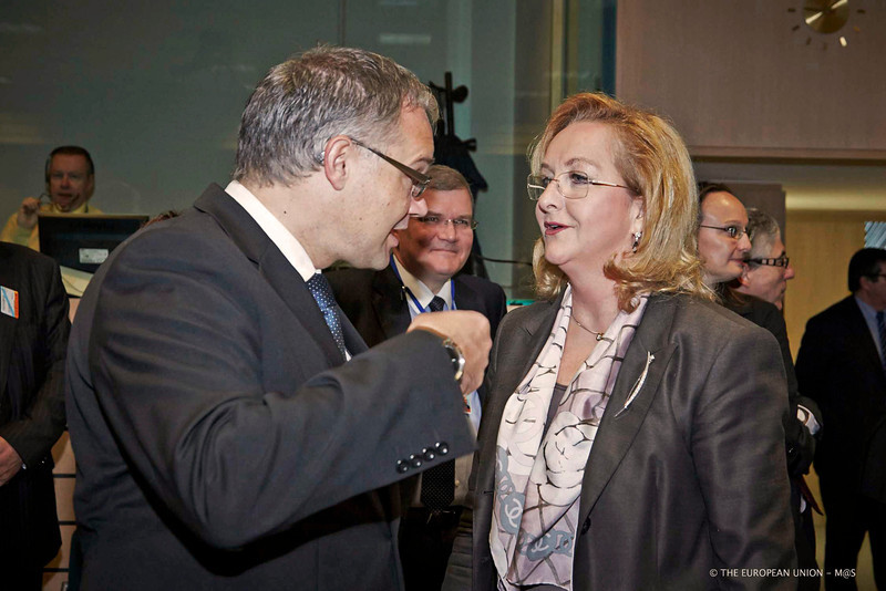 Klaus Tschütscher, Prime Minister and Minister of Finance of the Principality of Liechtenstein, and Maria Fekter, Minister of Finance of Austria. (Photo: Council of the European Union)