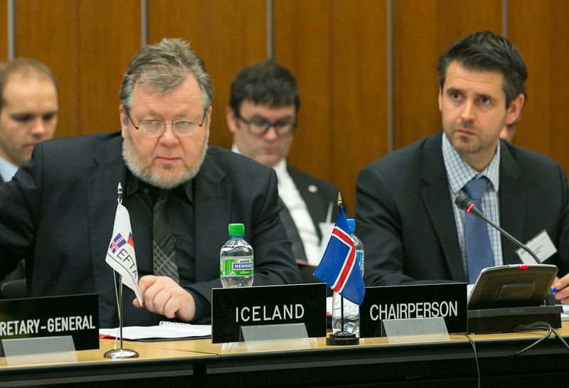 Össur Skarphéðinsson, Minister of Foreign Affairs and External Trade, Iceland, chairing the EFTA Ministerial meeting in Geneva on 12 November 2012; and Martin Eyjólfsson, Ambassador, Mission of Iceland to EFTA and WTO.