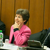 Ms Kathy Riklin (Christian Democratic Party, Switzerland) , Chair of the EFTA Parliamentary Committee, and Einar Ekern, EFTA Secretariat, at the meeting between the Committee and the EFTA ministers on 12 November 2012, Geneva.