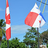 Canadian and Panamanian flags outside Pariaso