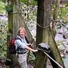 Panama - Anne ready to cross the footbridge by El Mach falls