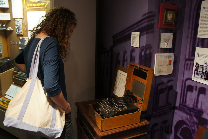 Tess McCabe '16 checking out a 3-rotor German Enigma Machine
