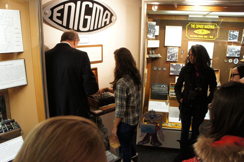 Alizeh Amer '16 encoding a message on the Enigma Machine.