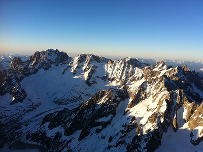 Sunset over the Aiguille Verte.  Les Drus on the left Les Droites and Les Courtes on the right.
