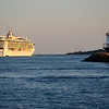The cruise ship Jewel of the Seas passes Spring Point Light leaving Portland.