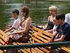 Joey, Isabel, Caroline, Hannah, and Benjamin on swan boat
