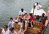 Joey waving on swan boat