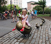 Hannah on duck statue, Public Garden