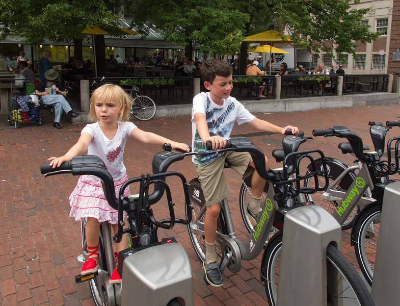 Hannah and Joey at Hubway in Harvard Square
