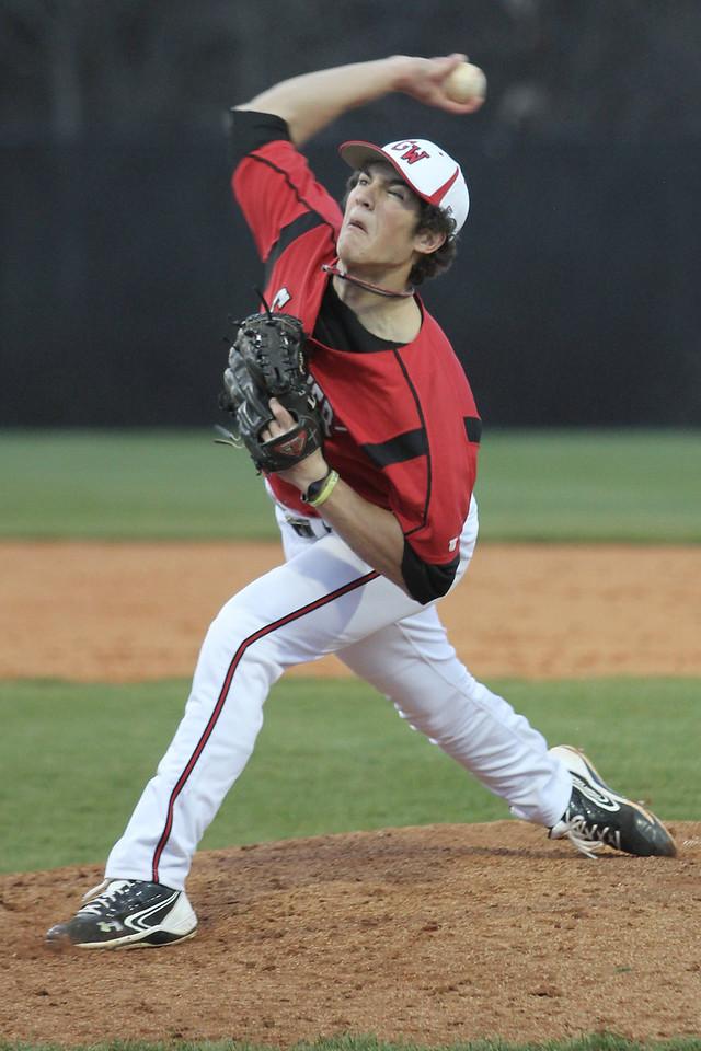 Number 5, Matt Liedberg pitches the ball