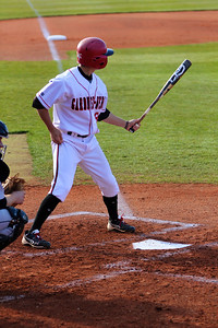 No. 8, Ryan Allen, lines up to hit the ball