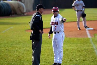 Coach Stroupe questions the umpire on a bad call