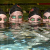 Tribune-Star/Joseph C. Garza<br /> Guess who is going to state?: Terre Haute South swimmers Grace Padget, Sarah Senseman, Mercedez Bray and Katherine Senseman will compete at the state level for the Braves.