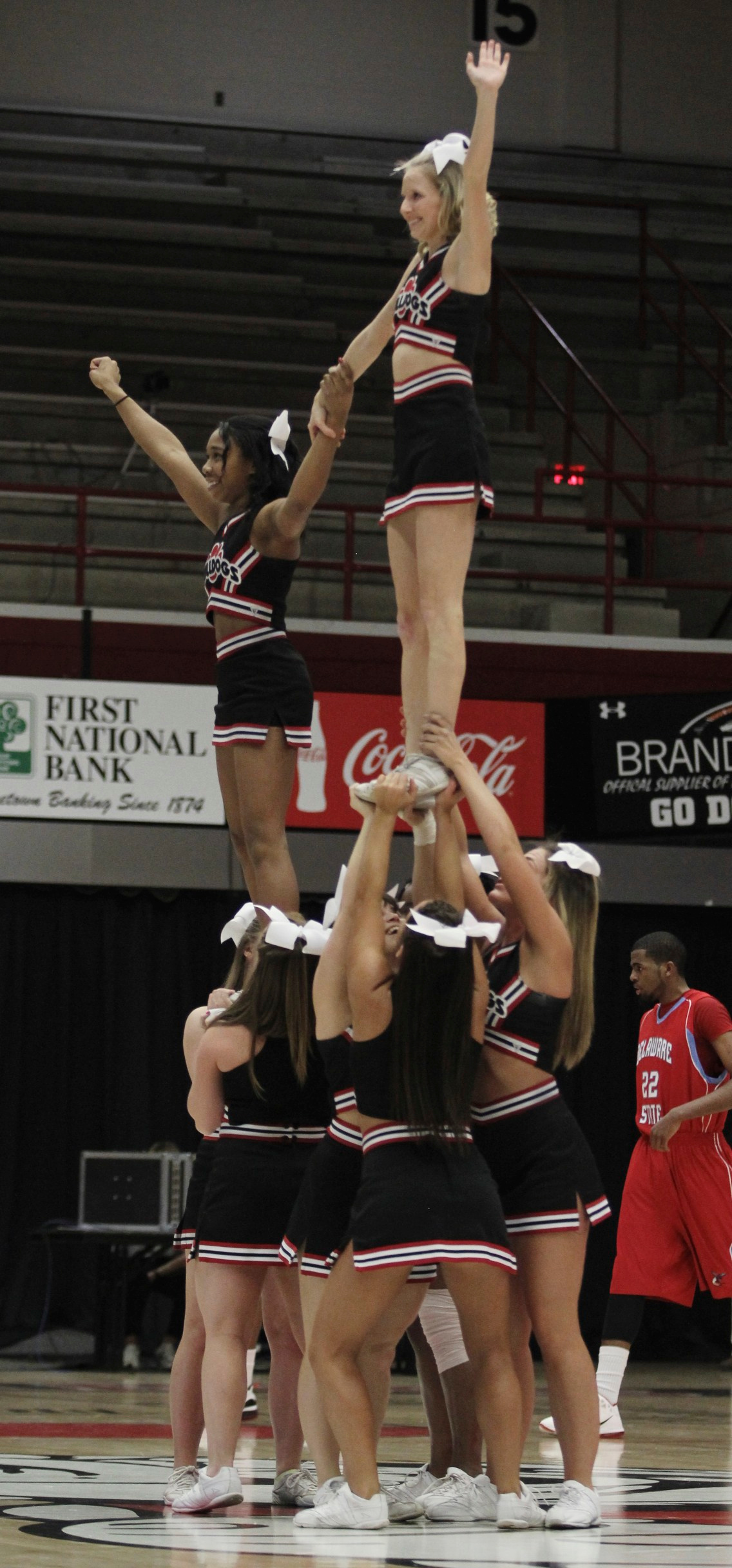 The Gardner-Webb Cheerleaders perform a stunt during a time-out