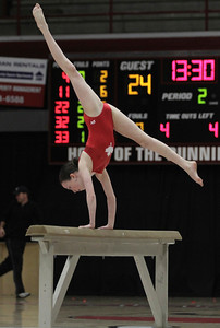 Tammy Arrowoods, Stars of Tomorrow, performed a gymnastics routine during halftime