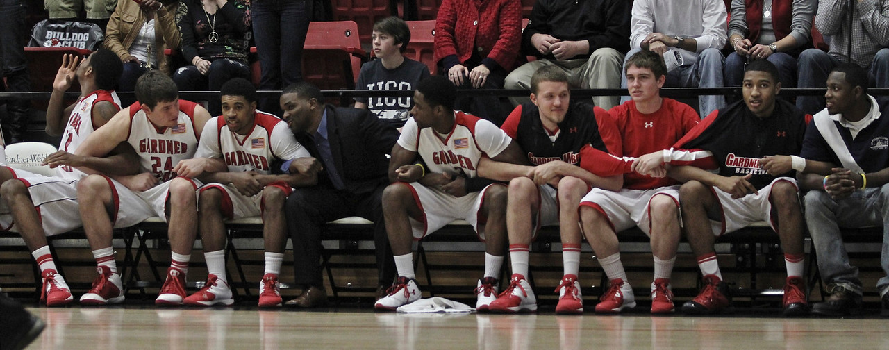 The Runnin Bulldogs lock arms as the intensity builds up during the last seconds of the game