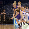 Hustle play: Indiana State's #23, Taylor Whitley goes to the floor after being tripped as she chases a loose ball against Northern Iowa.