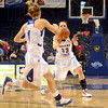 Push it:  Indiana State's #33, Anna Munn looks to push the ball to Brittany Schoen during second half action Sunday at Hulman Center.