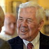 Senator: Indiana Senator Richard Lugar talks with a supporter during his Sunday afternoon stop in Terre Haute.