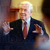 Lugar: Senator Richard Lugar speaks with a gathering of people Sunday afternoon during a stop in Terre Haute.