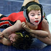 Pin: Indianapolis resident Noah Baker pins his opponent during Wabash Valley Folkstyle Open wrestling at Terre Haute North high school Sunday.