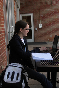 Anna Honea, a GW Student, enjoys the beautiful day on Thursday, February 23rd.