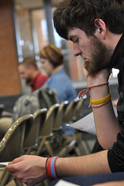 GWU Religious Studies student, Adam Barnes, from Dr. Berry's Judaism class get to hear an Auschwitz survivor, Irving Roth, speak on Feb 20, 2012 at Cleveland Community College.