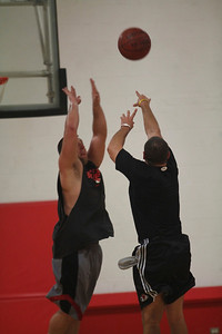 Students play in Intramural basketball game.