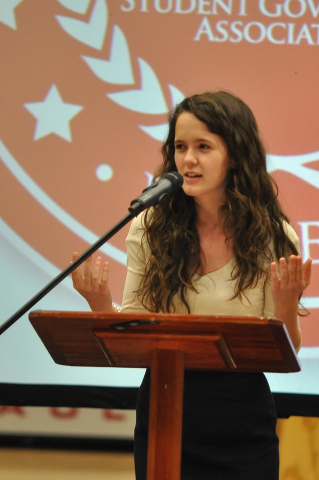 SGA candidates give speeches in Dimensions Tuesday Feb 28, 2012.