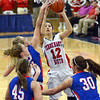 Southpaw: South's #12, Tasia Brewer attempts a shot during early first quarter action against Martinsville.