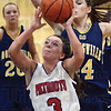 Driven: North's #3, Morgan Seely drives the ball to the basket during game action against Mooresville Friday night.