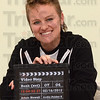 Tribune-Star/Jim Avelis<br /> Action: Emily Wood poses with her I-pad, showing the modern version of a clapperboard. Wood produced the movie Video Stop, scheduled to be shown in the State Museum IMAX theater.
