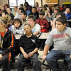 Bully not: Sarah Scott middle school students listen to Tante Robinson during Thursday's anti-bullying program.