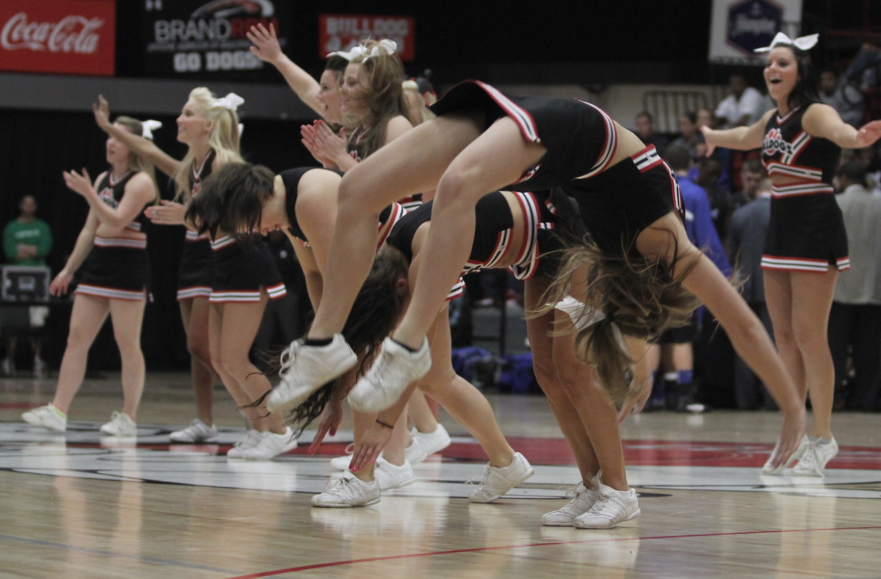 Gardner-Webb Cheerleaders do back flips during a time out