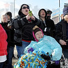 Tribune-Star/Joseph C. Garza<br /> Plunge support: Supporters cheer and gasp as they watch their plungers jump off the pool ladder Saturday during the Polar Plunge in front of Hulman Center.