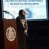 "Tribune-Star/Jim Avelis<br /> Honored: Zohra Sarwari began her talk Wednesday evening with a quote from Muhammad: "" The world and all things in it are valuable; but the most valuable thing in the world is a virtuous woman."