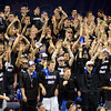 Tribune-Star/Jim Avelis<br /> Blackout: Indiana State fans cheer the play of the Sycamores in their Missouri Valley matchup with Drake Wednesday night.