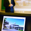 Tribune-Star/Joseph C. Garza<br /> A new look: Principal Architect Ernie Dreher of The Estopinal Group describes the plans for the entrance of the Greene County General Hospital during a press conference Wednesday in Linton at the health care facility.