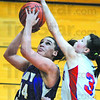 And one: Sierra Walters draws a foul from South Knox defender Olivia Carroll as she shoots a layup.