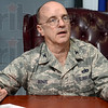 Tribune-Star/Joseph C. Garza<br /> Using tax payer money wisely: 181st Intelligence Wing Commander Col. Don Bonte discusses the proposed budget cuts for the Air National Guard Wednesday at the Terre Haute base.
