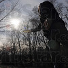 Tribune-Star/Joseph C. Garza<br /> A opportunity to let it fly: Shane Hartwell took advantage of Monday's warmer temperatures with a round of disk golf at Deming Park.
