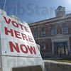 Tribune-Star/Jim Avelis<br /> Right here: A sandwich board sign invites Clark County residents to come in and vote early in the courthouse in Marshall.