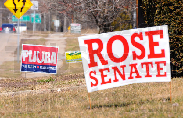 Tribune-Star/Jim Avelis<br /> Choose me: Political yard signs beckon for the attention of motorists entering Paris from the south. Very few local elections are contested, making for a scarcity of signage along roadways.